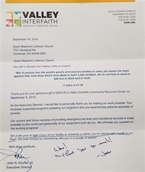 Thank from Valley Interfaith Community Resource Center