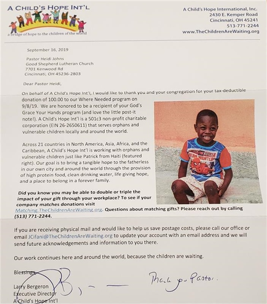 Thanks from A Child's Hope Int'l